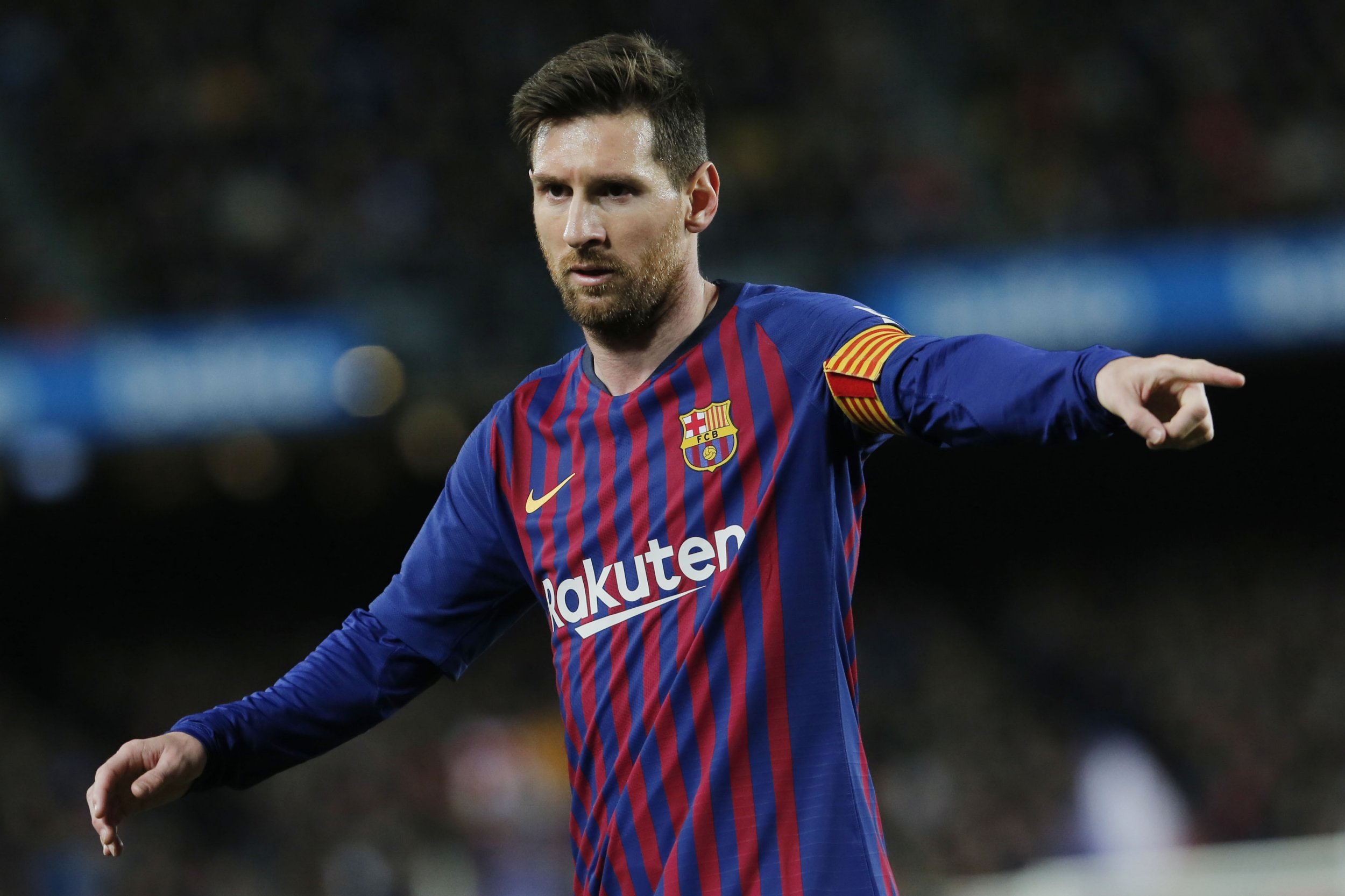 Barcelona's Argentinian forward Lionel Messi gestures during the Spanish league football match between FC Barcelona and Club Atletico de Madrid at the Camp Nou stadium in Barcelona on April 6, 2019. (Photo by PAU BARRENA / AFP)PAU BARRENA/AFP/Getty Images