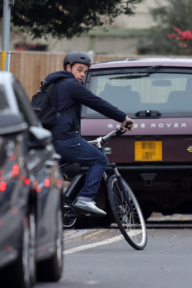 EXCLUSIVE ALL ROUNDER ***MINIMUM FEE ??500 PER PAPER APPLIES**^ Ant McPartlin is seen back on the road, for the first time in almost a year, as he takes a leisurely solo bike ride through South West London. Ant was wearing a helmet, but no high visibility clothing, for the early evening ride. Ant was banned from driving for a year on the 16th April 2018, when he was caught over twice the legal alcohol limit, having crashed into two cars in Richmond. And while he is still yet to get back behind the wheel of a car, a mountain bike appears to be a logical first step on the road to recovery.5 April 2019.Please byline: Will/Mark/Vantagenews.com