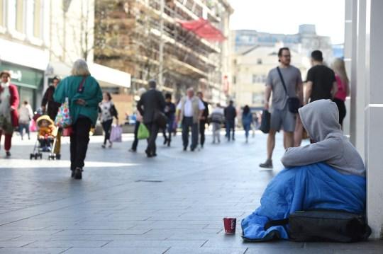 A homeless man on Church Street, Liverpool Credit: Liverpool Echo