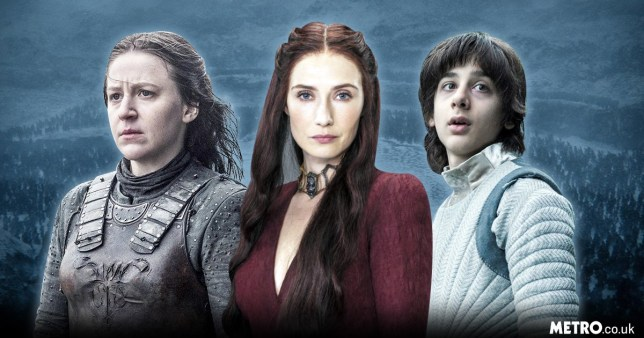 Yara Greyjoy, Melisandre and Robin Arrynwith a background of a snowy Westeros in Game of Thrones