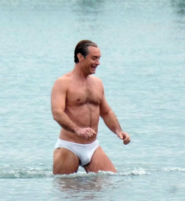 "BGUK_1543732 - ** RIGHTS: ONLY UNITED KINGDOM ** Venice, ITALY - British Actor Jude law shows off his toned Physique as he's pictured filming in his Y fronts Briefs while pictured filming TV series ""The new Pope"" in Venice. Jude looked in Good spirits as he was seen laughing while leaving the sea with a crew member! Pictured: Jude law BACKGRID UK 9 APRIL 2019 BYLINE MUST READ: CIAOPIX / BACKGRID UK: +44 208 344 2007 / uksales@backgrid.com USA: +1 310 798 9111 / usasales@backgrid.com *UK Clients - Pictures Containing Children Please Pixelate Face Prior To Publication*"