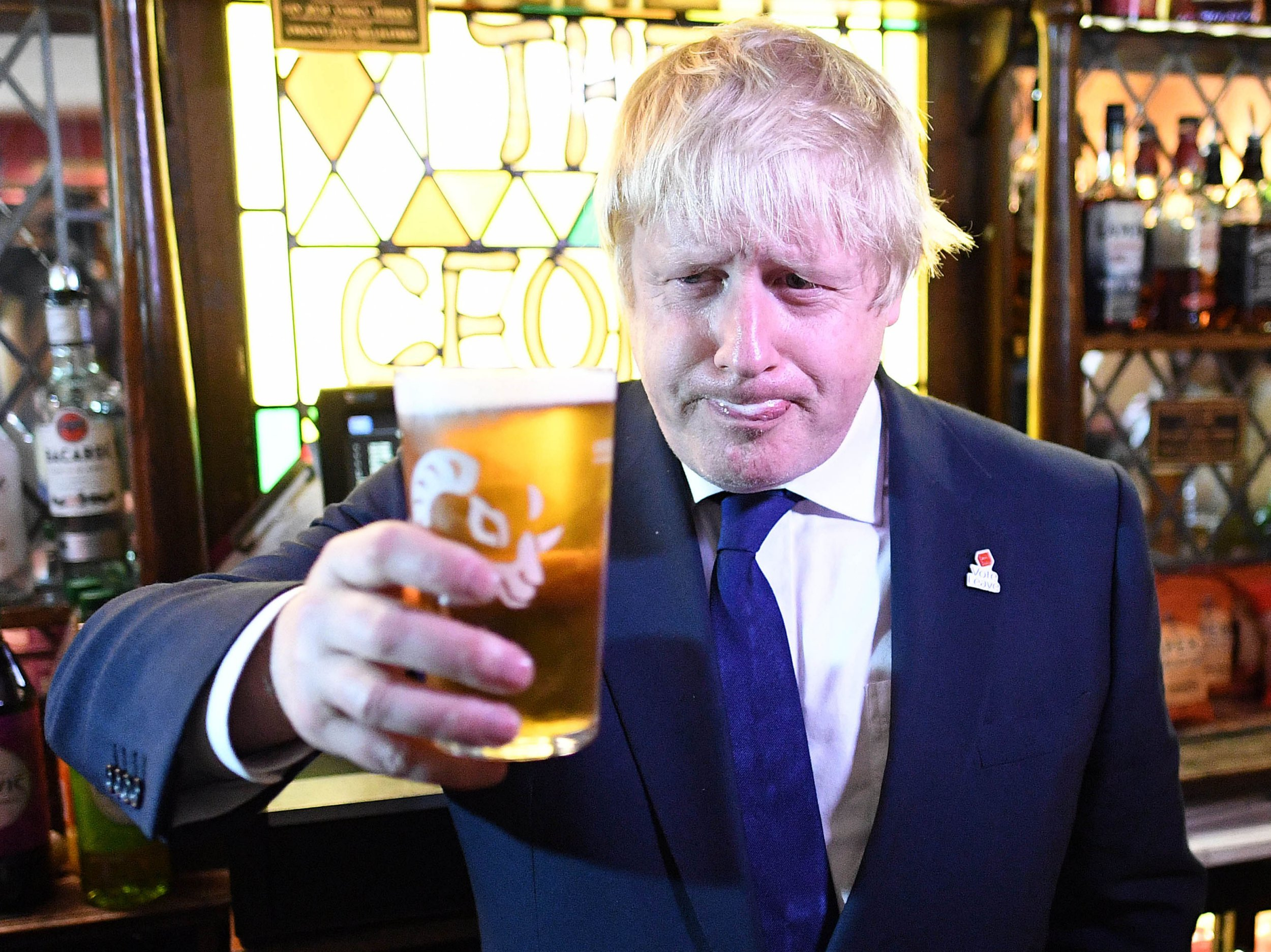 Mandatory Credit: Photo by REX/Shutterstock (5735889dq) The Former Mayor of London Boris Johnson talking to vote leave supporters at The George Pub in Darlington, as part of his 12 hour tour of the country for the Vote Leave Campaign, on the eve of the UK referendum. Boris Johnson Brexit campaigning, UK - 22 Jun 2016