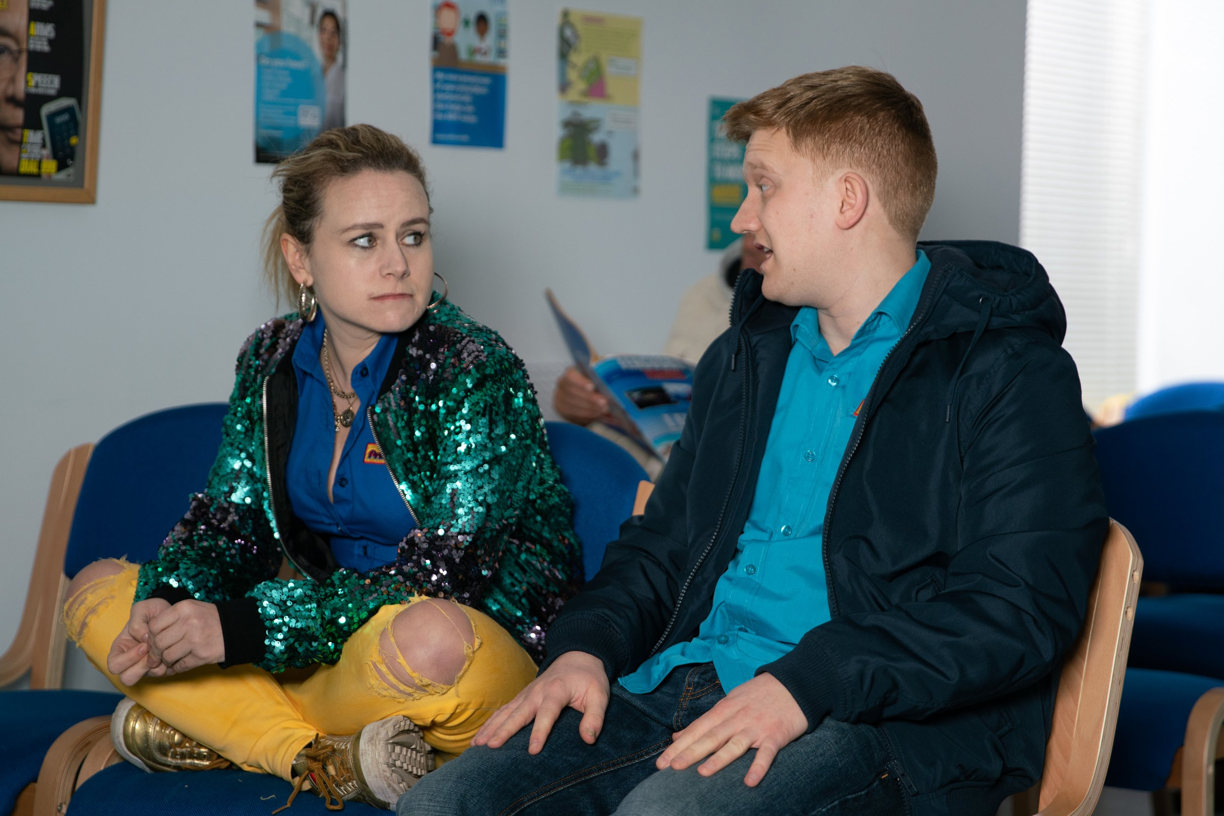 Dolly Rose Campbell as Gemma Winter and Sam Aston as Chesney Brown