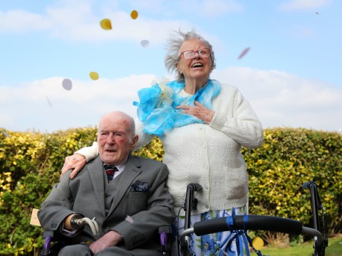 Two blind veterans in their 90s fall in love and have a chapel blessing to celebrate their union