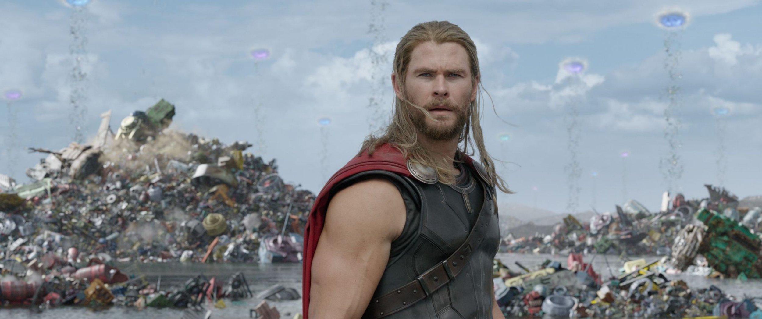 "Editorial use only. No book cover usage. Mandatory Credit: Photo by J Boland/Marvel Studios/Kobal/REX/Shutterstock (9220927g) Chris Hemsworth ""Thor: Ragnarok"" Film - 2017"