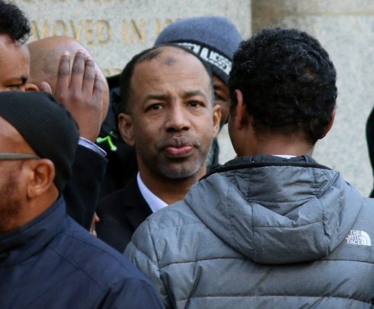 Pic shows Abdi Quule, surrounded by friends and supporters outside the Old Bailey, following the verdict. A husband accused of killing his partner by setting her alight was cleared of murder after he claimed she accidentally set herself on fire as she cooked him porridge. Kaltoun Saleh, 43, spent six weeks in a specialist burns unit following the blaze at Noll House on the Andover Estate, in Finsbury Park, north London, on July 5 last year. Her husband Abdi Quule, 48, was found at the scene of the fire and treated for burns. SEE STORY CENTRAL NEWS