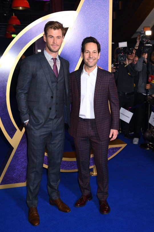 "LONDON, ENGLAND - APRIL 10: Chris Hemsworth and Paul Rudd attend the ""Avengers Endgame"" UK Fan Event at Picturehouse Central on April 10, 2019 in London, England. (Photo by Dave J Hogan/Dave J Hogan/Getty Images)"