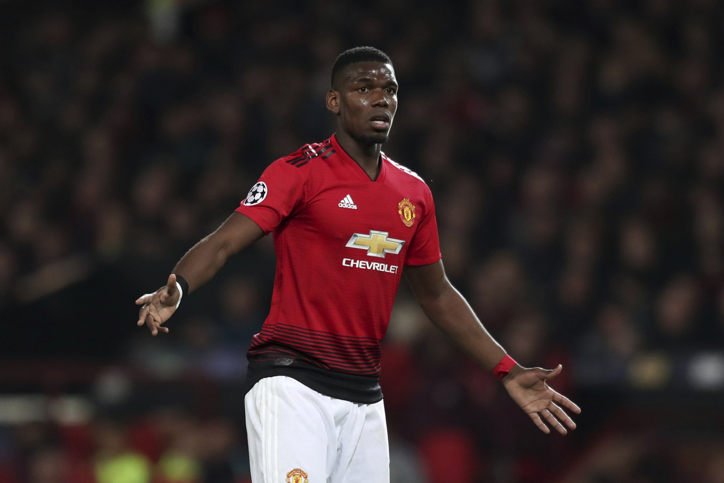 Manchester United's Paul Pogba reacts during the Champions League quarterfinal, first leg, soccer match between Manchester United and FC Barcelona at Old Trafford stadium in Manchester, England, Wednesday, April 10, 2019. (AP Photo/Jon Super)