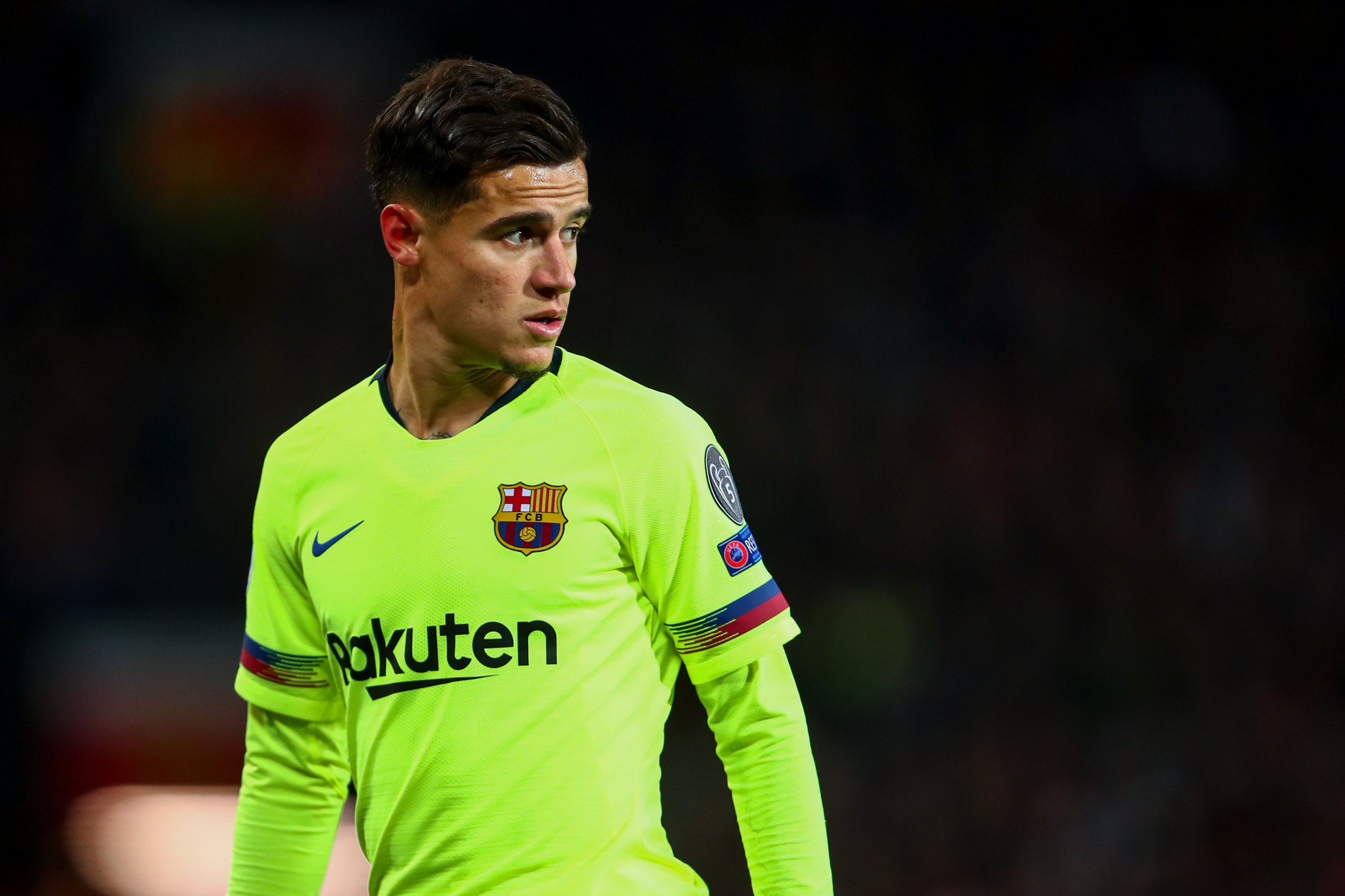 MANCHESTER, ENGLAND - APRIL 10: Philippe Coutinho of FC Barcelona during the UEFA Champions League Quarter Final first leg match between Manchester United and FC Barcelona at Old Trafford on April 10, 2019 in Manchester, England. (Photo by Robbie Jay Barratt - AMA/Getty Images)