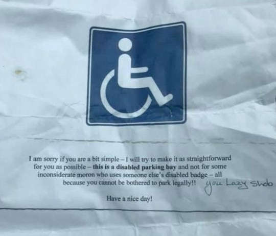 The angry note called the woman who suffers from numerous health conditions a 'moron' (Picture: Ferrari/Facebook)