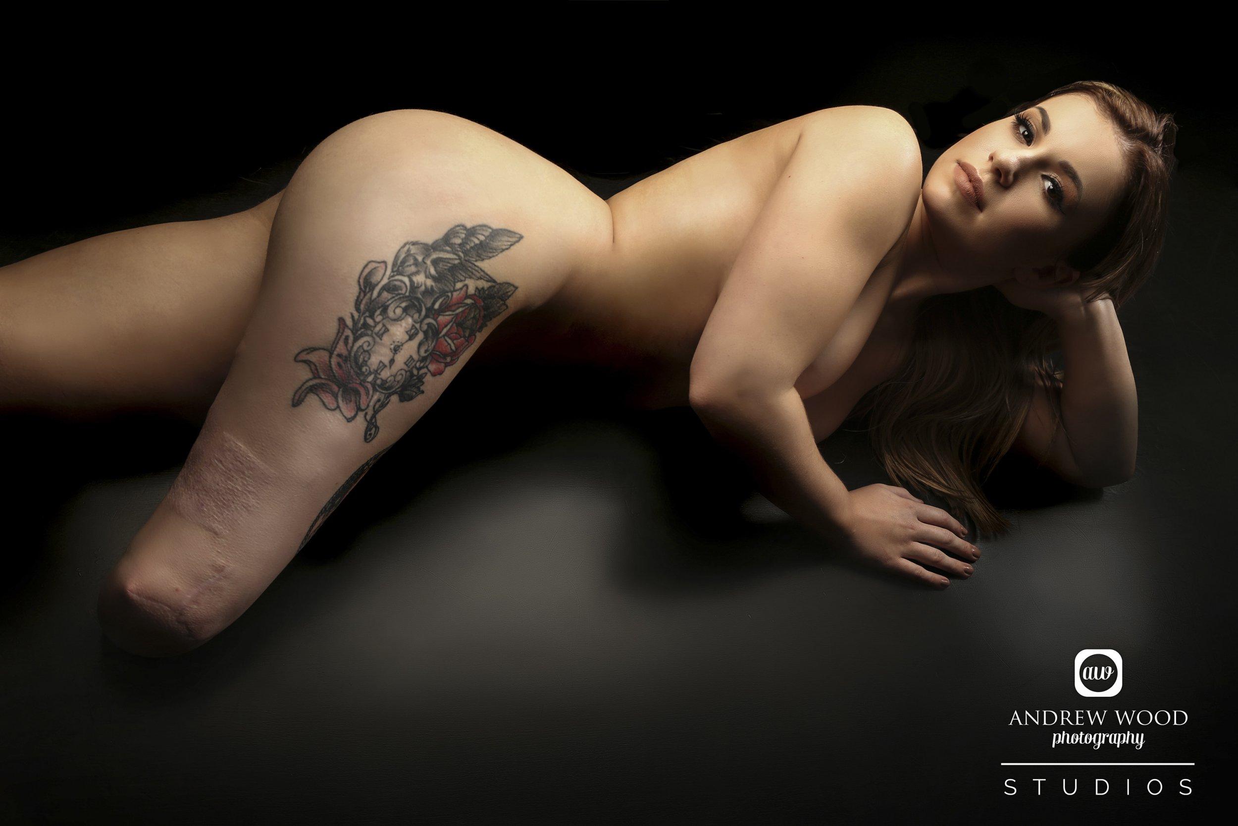 Photo of mature woman standing in panties