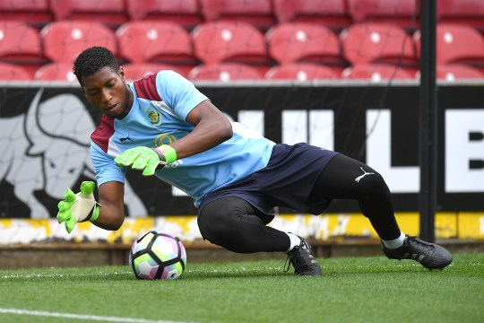 Burnley goalkeeper Tony Aghayere during the warm up