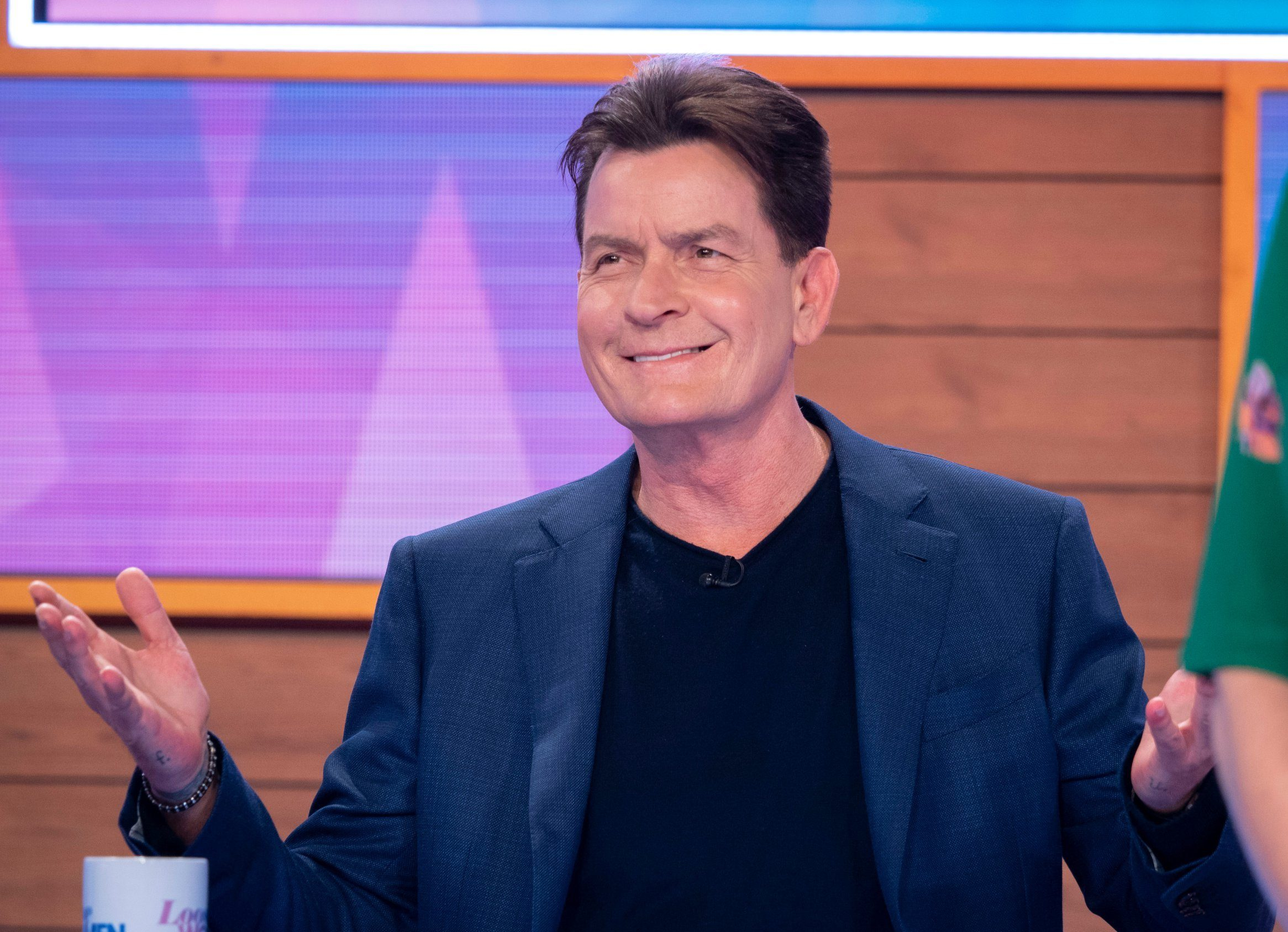 Editorial use only Mandatory Credit: Photo by Ken McKay/ITV/REX (10199613h) Charlie Sheen 'Loose Women' TV show, London, UK - 11 Apr 2019