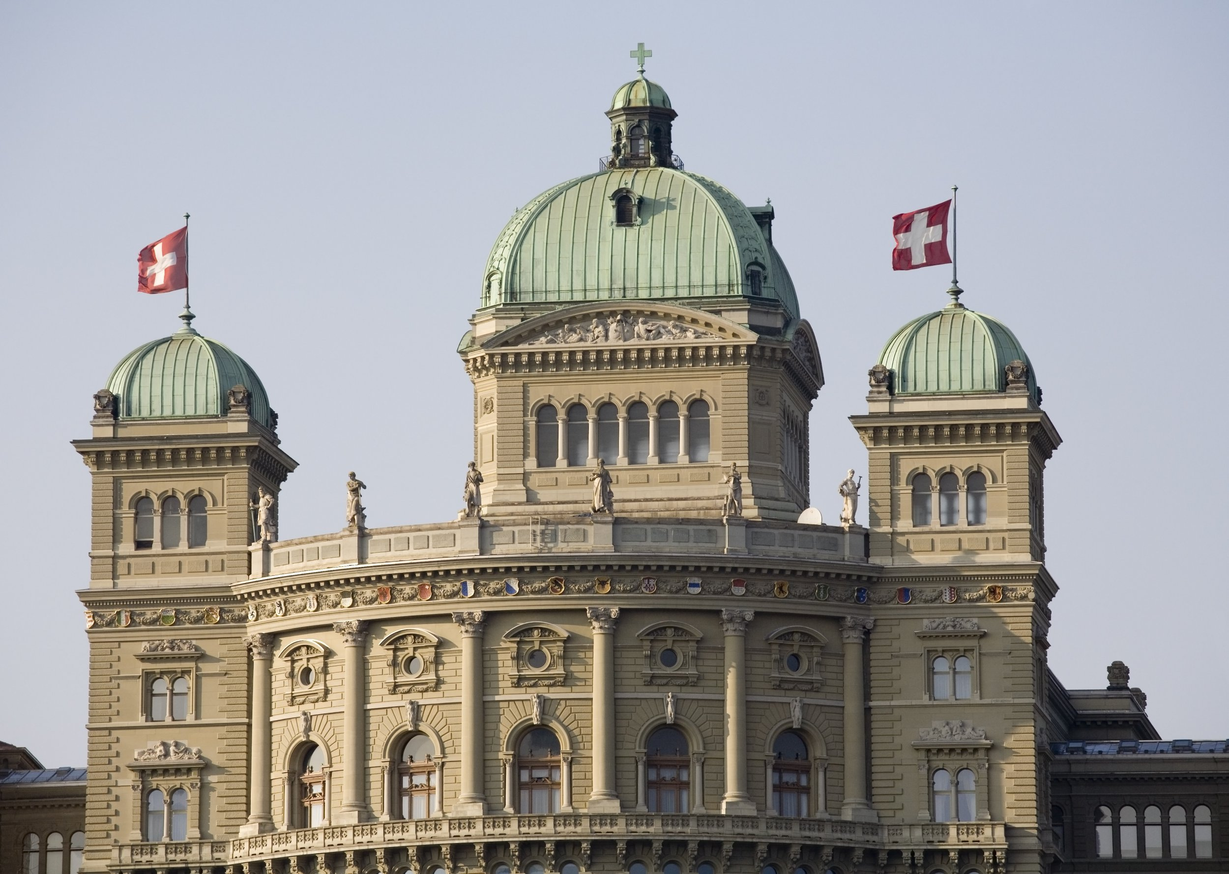The Swiss government building Bundeshaus or Federal Palace of Switzerland, headquarter one of the oldest democracies in the world, Berne, capital city of Switzerland, Europe