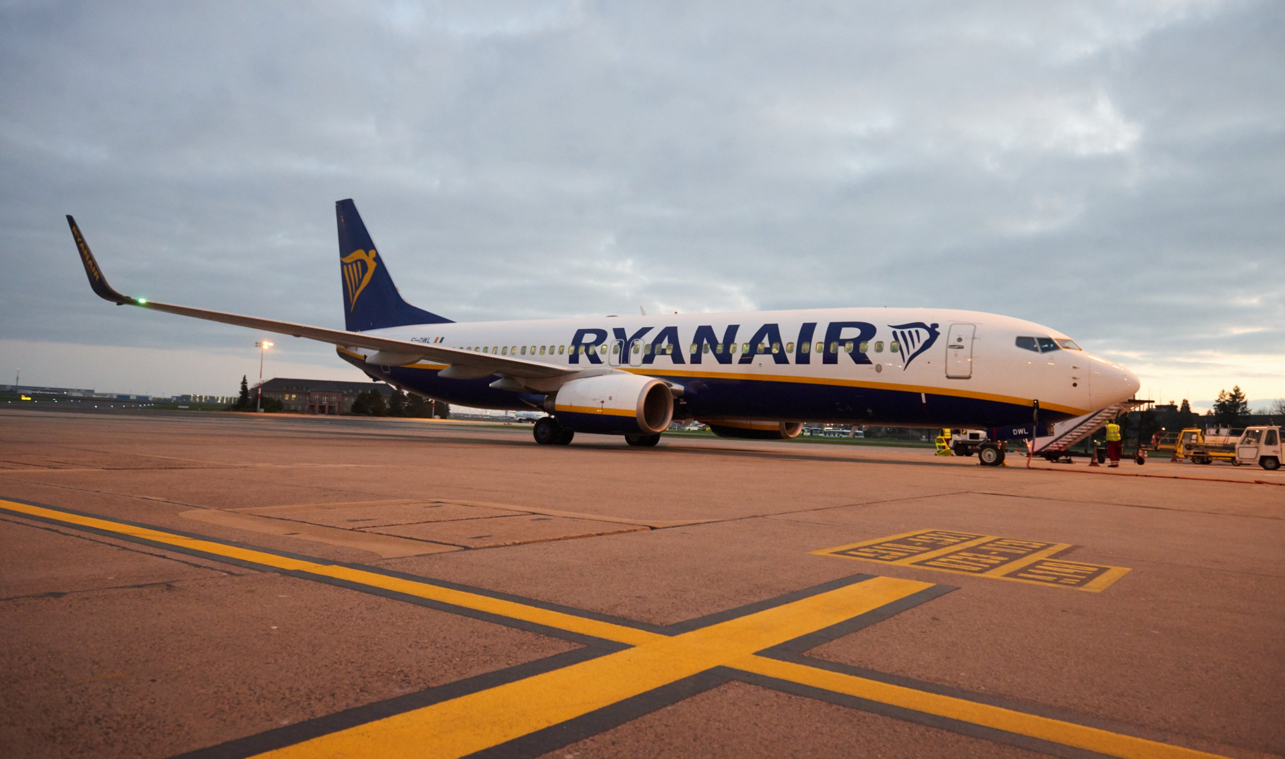 02 April 2019, Berlin: A passenger plane of the airline Ryanair stands at the airport Tegel. Photo: Annette Riedl/dpa-Zentralbild/ZB
