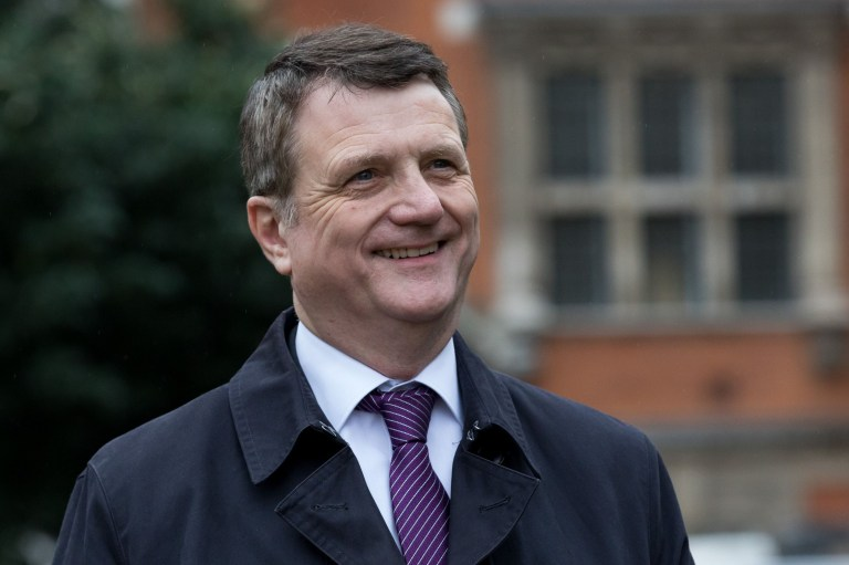 Mandatory Credit: Photo by Vickie Flores/LNP/REX/Shutterstock (9982188f) Gerard Batten, UKIP leader speaks to journalists on College Green in Westminster. Politicians in Westminster, London, UK - 16 Nov 2018