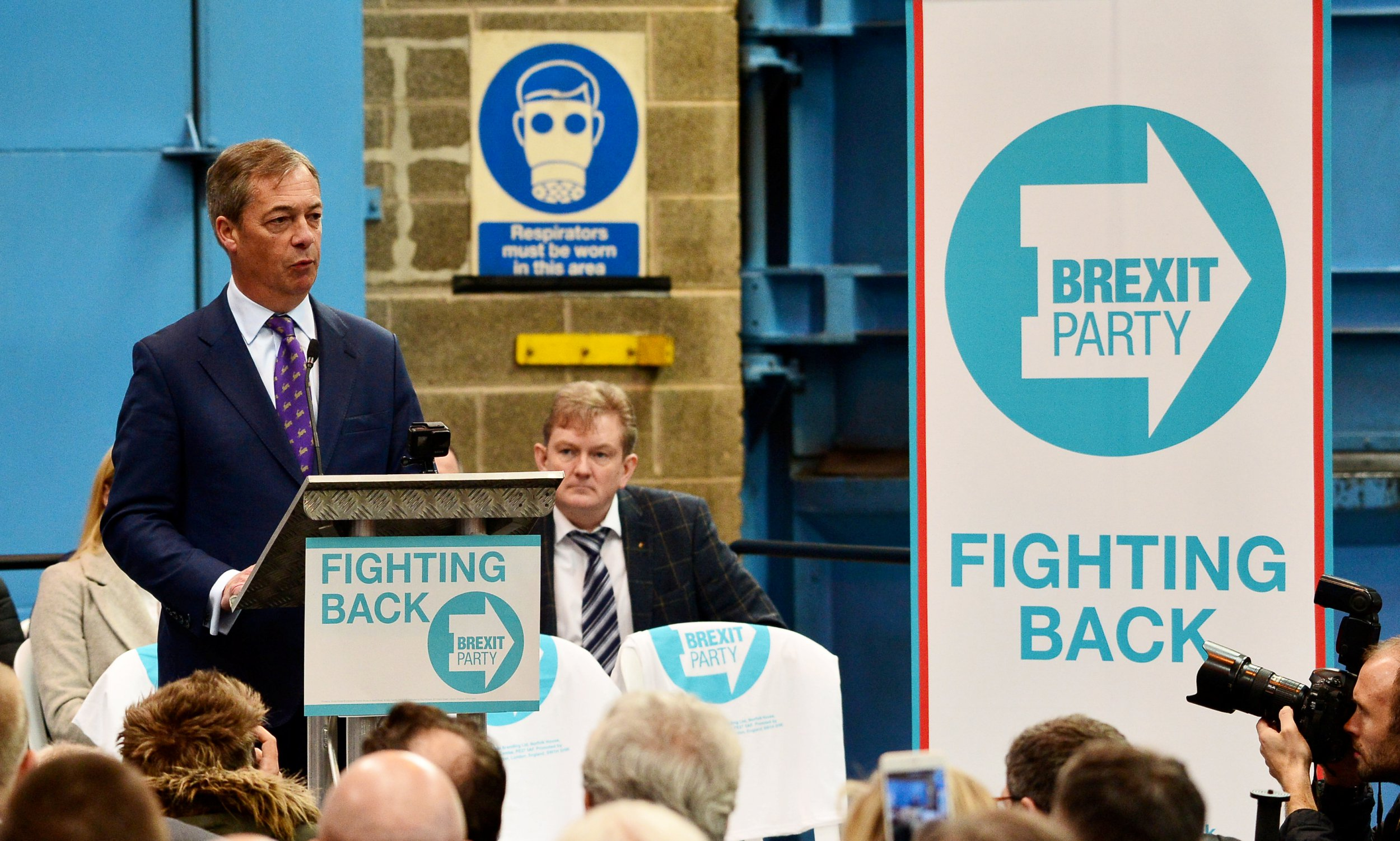 Nigel Farage officially launches his new political party at JBG Penny and Co in Coventry. April 12, 2019. See SWNS story SWMDbrexit. The former parliamentary candidate and Member of the European Parliament (MEP) left UKIP in December 2018 after 25 years, and helped form the Brexit Party. Founded in January 2019, party chiefs have revealed that they plan to contest every region in the upcoming elections on May 23.