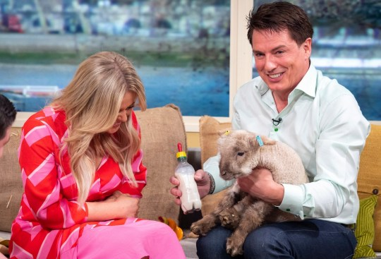 Editorial use only Mandatory Credit: Photo by Ken McKay/ITV/REX (10201876ai) Emily Atack and John Barrowman 'This Morning' TV show, London, UK - 12 Apr 2019 THE SPRING LAMBS ARE BAAAA-CK! It?s not spring unless we have some lambs in the studio! We?ll be joined by two 4-week-old lambs from Mudchute Farm alongside lambing expert Tom Davis.