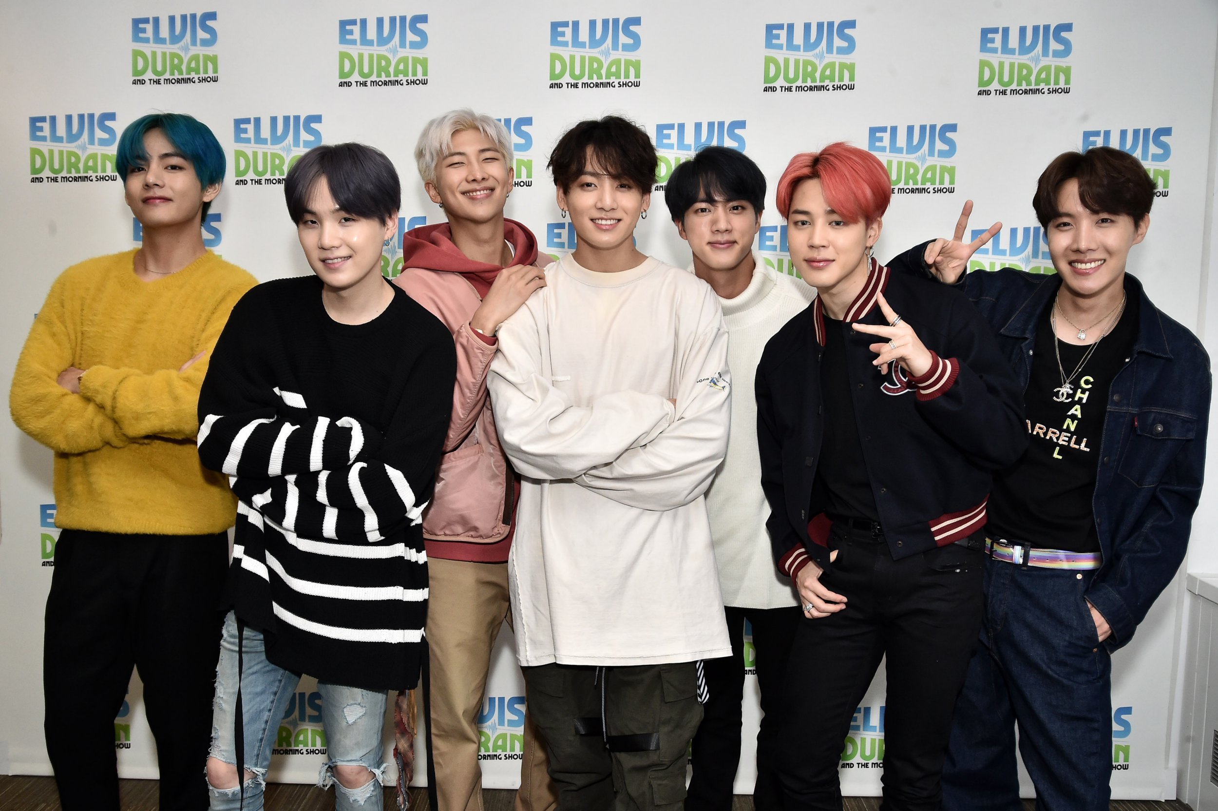 NEW YORK, NY - APRIL 12: (EXCLUSIVE COVERAGE) V, Suga, RM, Jungkook, Jin, Jimin, J-Hope of BTS visit The Elvis Duran Z100 Morning Show at Z100 Studio on April 12, 2019 in New York City. (Photo by Steven Ferdman/Getty Images)