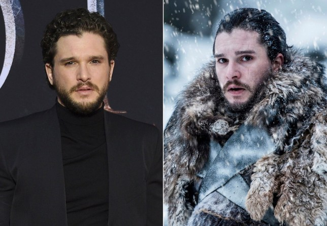 Kit Harington at HBO's Game Of Thrones final season premiere and left as his character Jon Snow