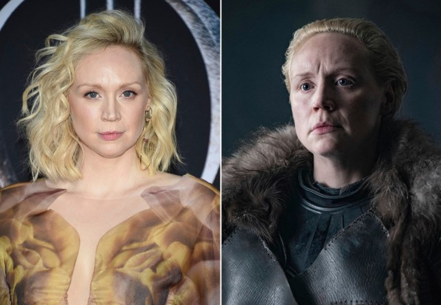 "This combination photo shows Gwendoline Christie at HBO's ""Game of Thrones"" final season premiere in New York on April 3, 2019, left, and her character Brienne of Tarth. (Photos by Evan Agostini/Invision/AP, left, and HBO)"