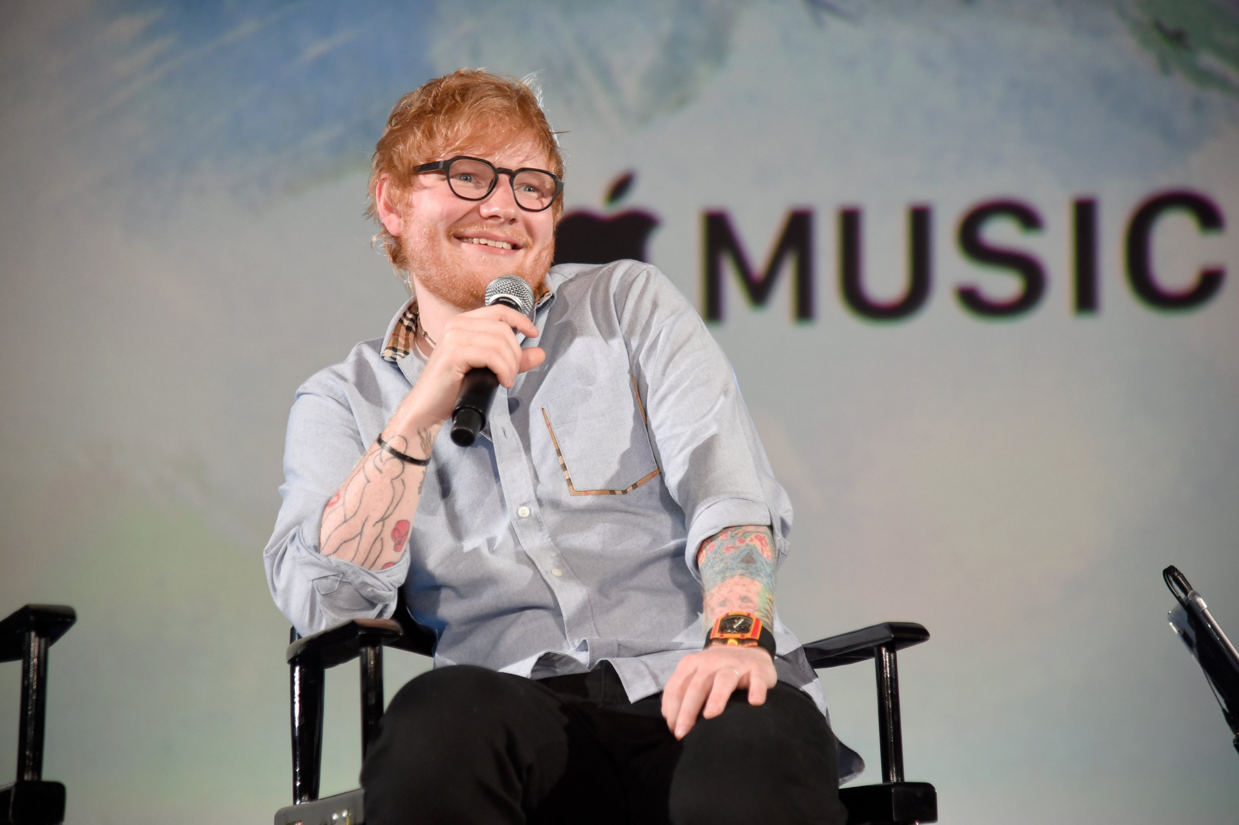 "HOLLYWOOD, CA - AUGUST 27: Ed Sheeran speaks onstage at Apple Music Presents ""Songwriter"" With Ed Sheeran in Los Angeles at ArcLight Cinemas Cinerama Dome on August 27, 2018 in Hollywood, California. (Photo by Kevin Mazur/Getty Images for Apple Music)"