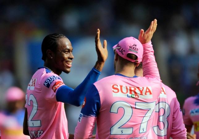 Rajasthan Royals' Jofra Archer celebrates the dismissal of Mumbai Indians' Rohit Sharma during the VIVO IPL T20 cricket match between Mumbai Indians and Rajasthan Royals in Mumbai, India, Saturday, April 13, 2019. (AP Photo/Rajanish Kakade)