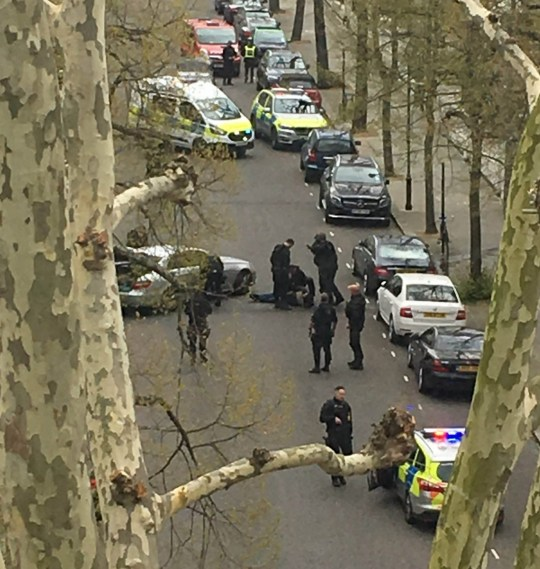 "Police apprehend a suspect near the Ukrainian Embassy in Holland Park, west London after police fired shots when the ambassador's car was ""deliberately rammed"". PRESS ASSOCIATION Photo. Picture date: Saturday April 13, 2019. The embassy said the official car of the Ambassador of Ukraine to the UK, Natalia Galibarenko, was attacked on Saturday morning at around 10am. No one was injured in the incident and one person was taken to a police station. See PA story POLICE HollandPark. Photo credit should read: Emma Slatter/PA Wire NOTE TO EDITORS: This handout photo may only be used in for editorial reporting purposes for the contemporaneous illustration of events, things or the people in the image or facts mentioned in the caption. Reuse of the picture may require further permission from the copyright holder."