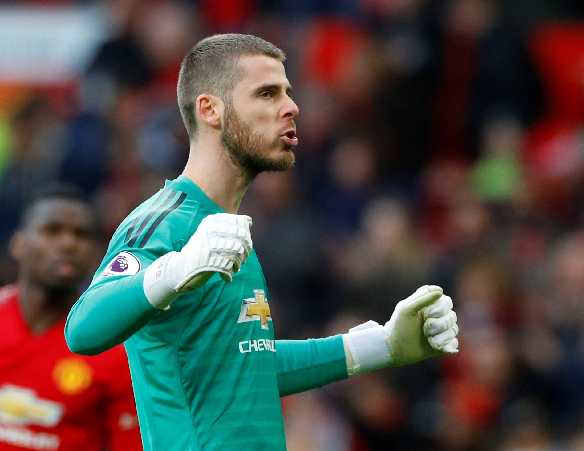 """Soccer Football - Premier League - Manchester United v West Ham United - Old Trafford, Manchester, Britain - April 13, 2019 Manchester United's David de Gea celebrates after the match REUTERS/Phil Noble EDITORIAL USE ONLY. No use with unauthorized audio, video, data, fixture lists, club/league logos or """"live"""" services. Online in-match use limited to 75 images, no video emulation. No use in betting, games or single club/league/player publications. Please contact your account representative for further details."""