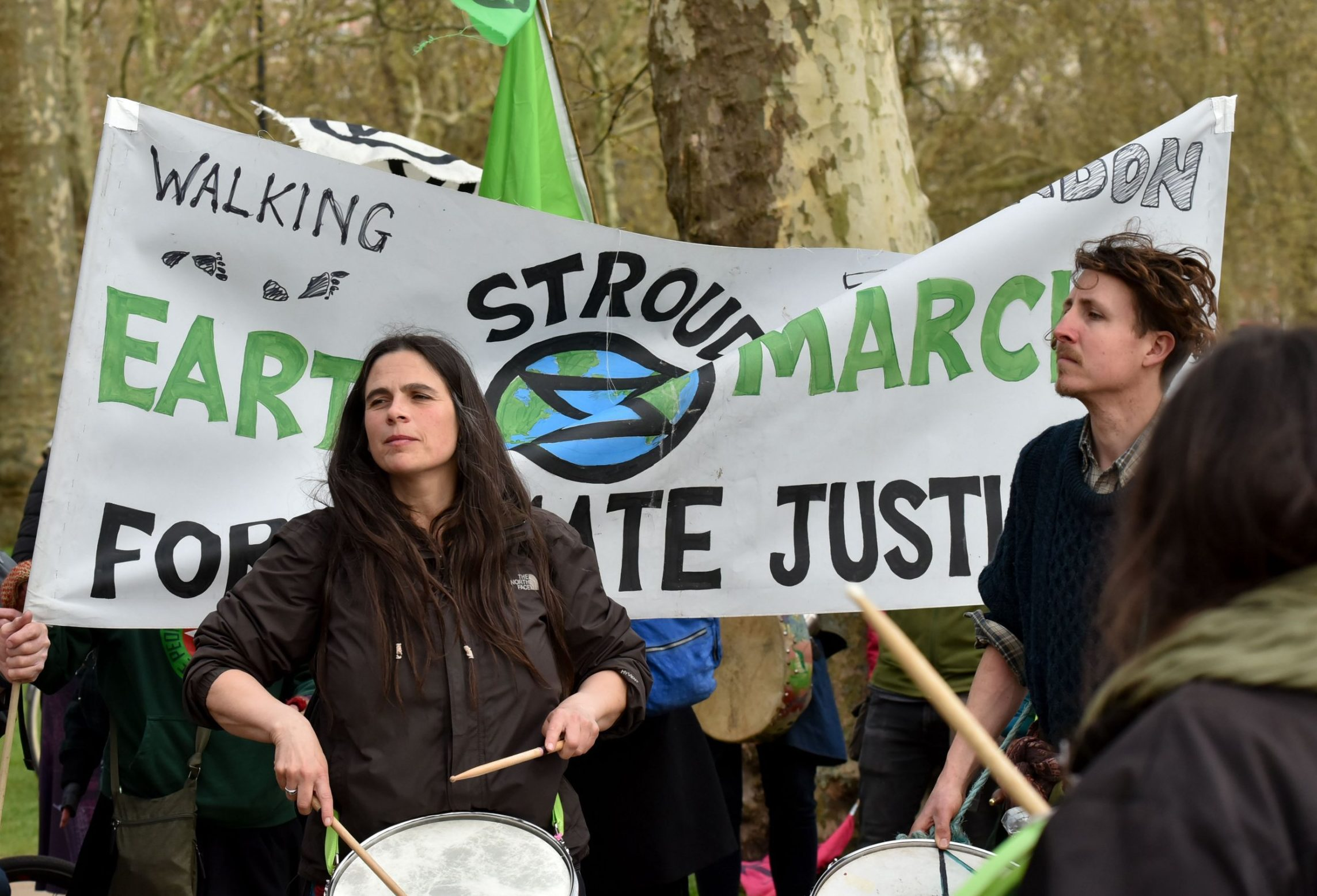 Mandatory Credit: Photo by Matthew Chattle/REX (10204045a) Extinction Rebellion and Earth March climate protesters in Hyde Park, London. Extinction Rebellion protest, London, UK. - 14 Apr 2019.