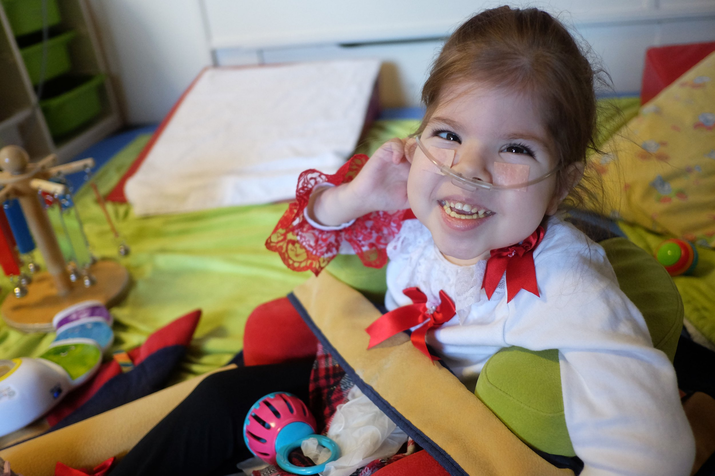 Layla Bukorovic, 5, who had troubles getting her feeding tube changed which caused her problems. Layla at Zoe's Place, Eston.