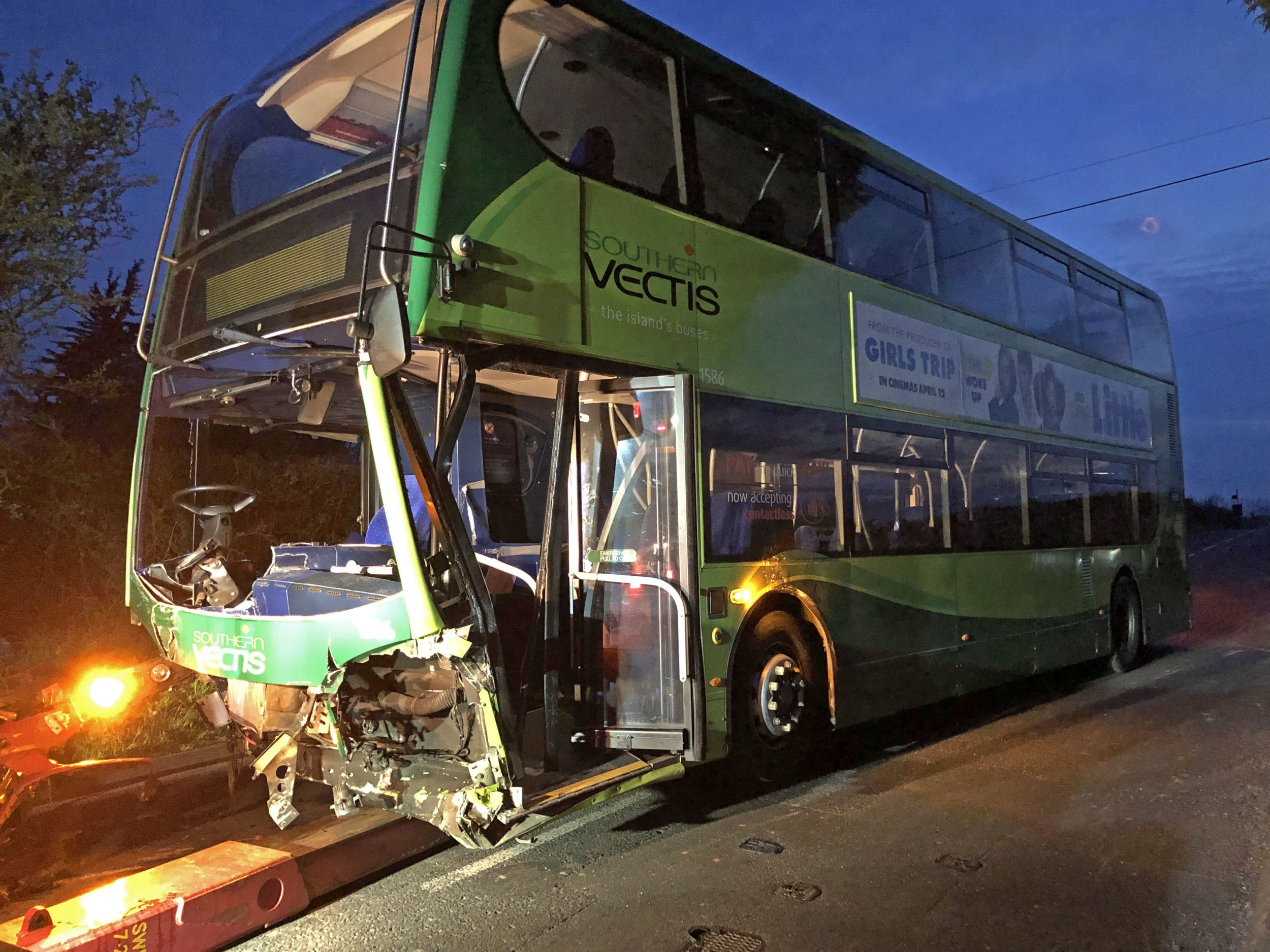 The scene on the Isle of Wight where one person died in a crash involving a double decker bus and two cars. PRESS ASSOCIATION Photo. Picture date: Sunday April 14, 2019. See PA story POLICE IsleofWight . Photo credit should read: Jennifer Pegler/PA Wire