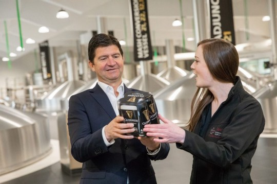 Undated handout photo courtesty of Naoise Culhane of Country Director of Diageo Ireland Oliver Loomes and brewer Orla Gill with the new plastic free packaging, as the company announced it was removing plastic packaging from its beer packs. PRESS ASSOCIATION Photo. Issue date: Monday April 15, 2019. In a bold sustainable move, Diageo is investing ???18.5m (??16m) to reduce the amount of plastics used in its beer packaging by removing the plastic ring carriers and shrink wrap from its multipacks of Guinness, Harp, Rockshore and Smithwick???s. See PA story IRISH Guinness. Photo credit should read: Naoise Culhane/PA Wire NOTE TO EDITORS: This handout photo may only be used in for editorial reporting purposes for the contemporaneous illustration of events, things or the people in the image or facts mentioned in the caption. Reuse of the picture may require further permission from the copyright holder.