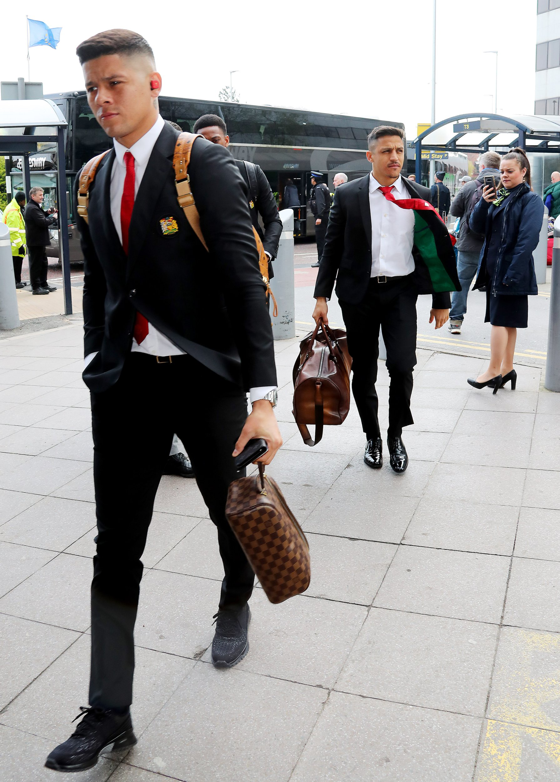 15.4.19???.The Manchester United team fly to Barcelona on Monday morning for their Champions League 2nd leg on Tuesday night??????. Marcos Rojo and Alexis Sanchez.