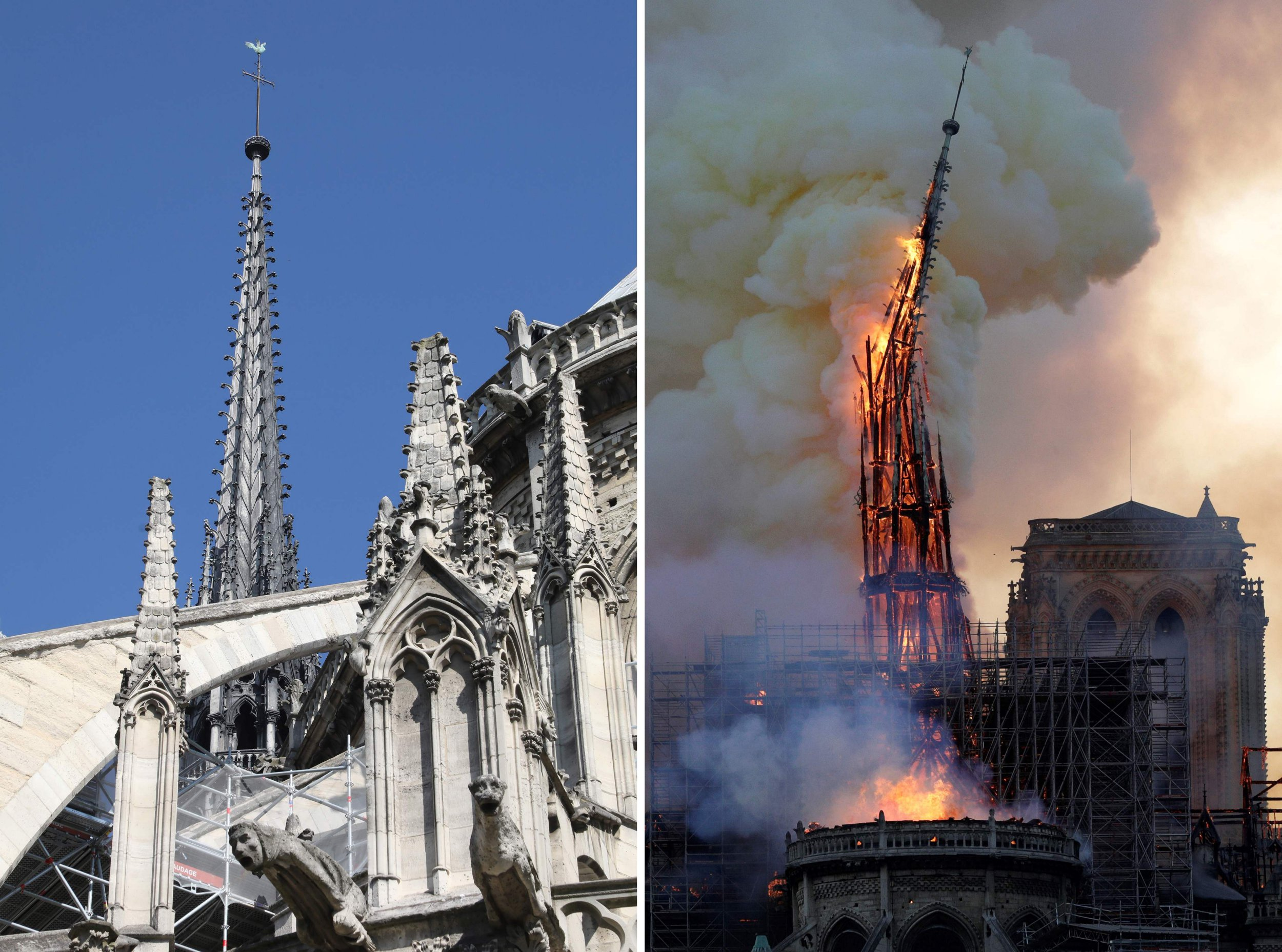 Two pictures showing the spire on top of Notre-Dame de Paris Cathedral before the fire on the left, and it collpasing during the fire on the right.