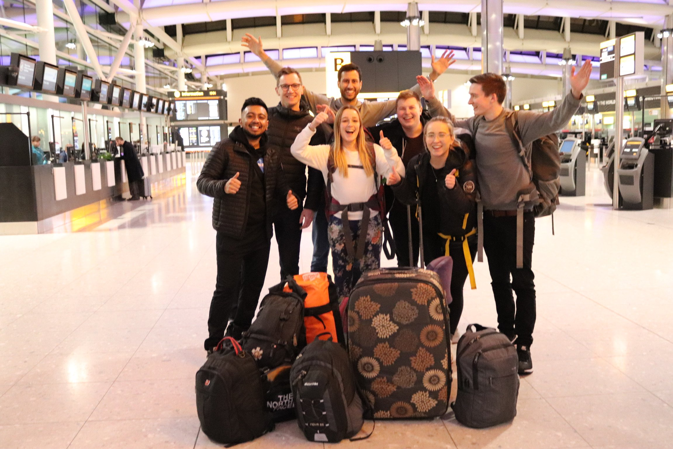 The Turn Partners team at the airport before jetting off to Thailand (Picture: News Dog Media)
