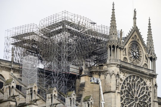 BGUK_1550849 - ** RIGHTS: ONLY UNITED KINGDOM ** Paris, FRANCE - The fire in the Notre-Dame cathedral of Paris was controlled by firefighters after hours of struggle, in Paris, France. Pictured: GV, General View BACKGRID UK 16 APRIL 2019 BYLINE MUST READ: BEST IMAGE / BACKGRID UK: +44 208 344 2007 / uksales@backgrid.com USA: +1 310 798 9111 / usasales@backgrid.com *UK Clients - Pictures Containing Children Please Pixelate Face Prior To Publication*