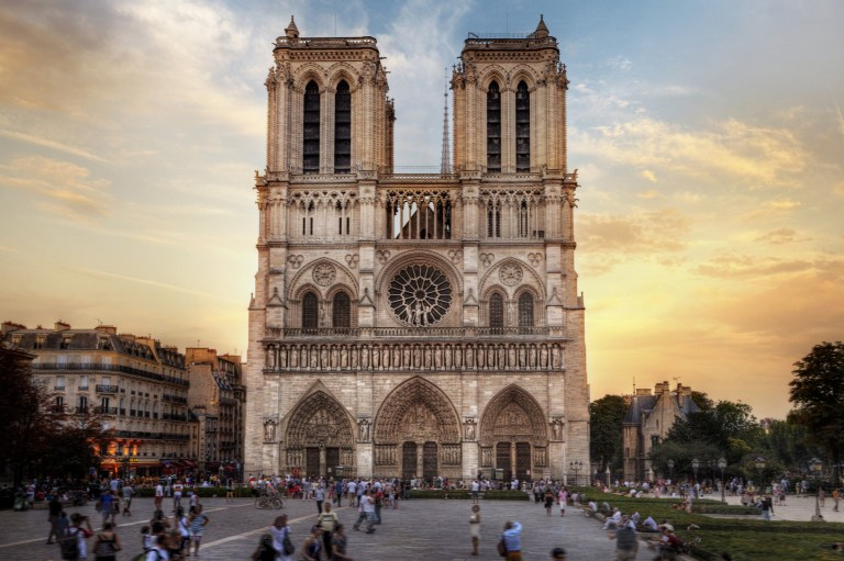 The outside of the Notre-Dame de Paris in central Paris before it was damaged by a fire.