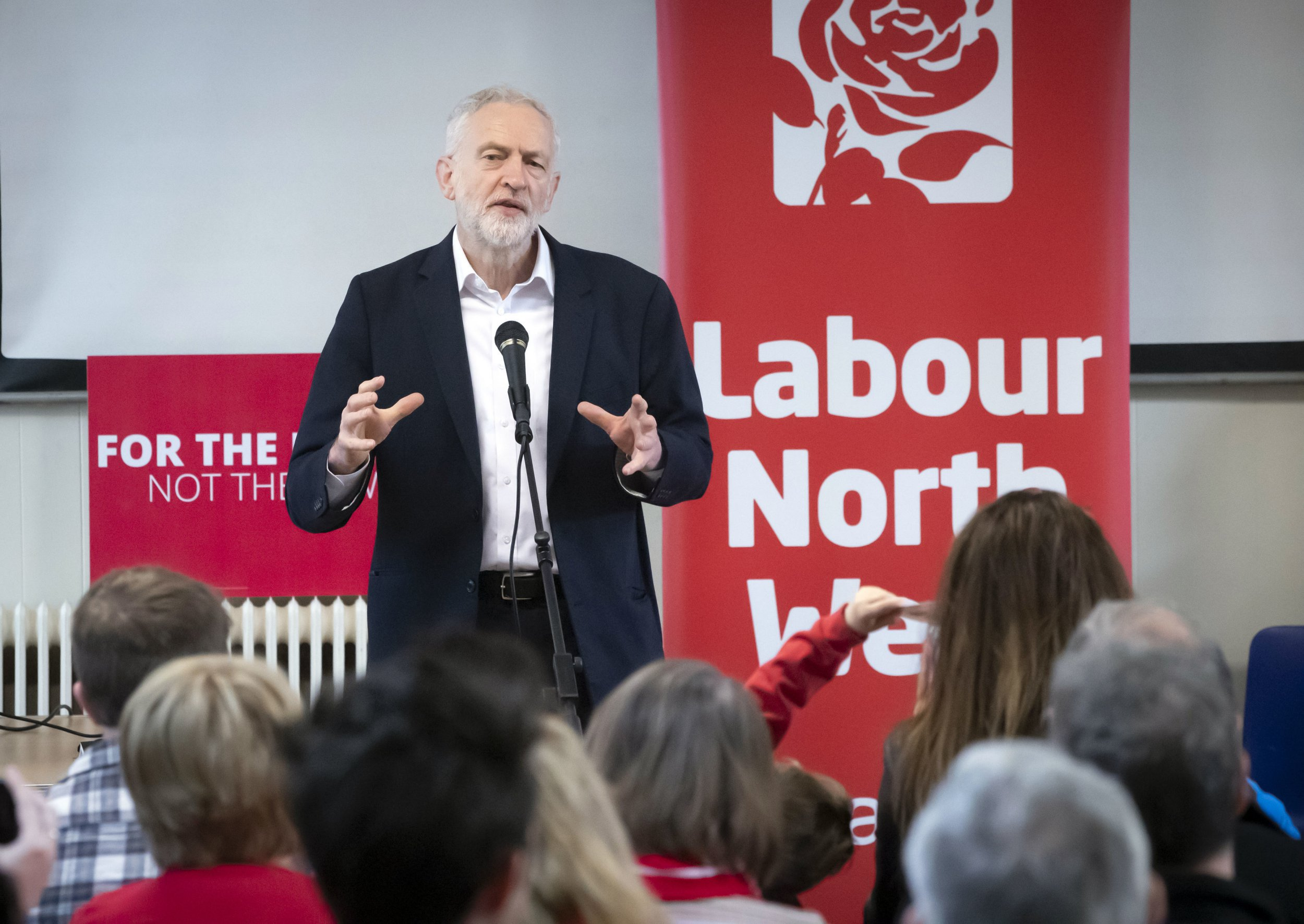 Labour leader Jeremy Corbyn during a members meeting in Leyland, Lancashire while on the local election campaign trail. PRESS ASSOCIATION Photo. Picture date: Tuesday April 16, 2019. Photo credit should read: Danny Lawson/PA Wire