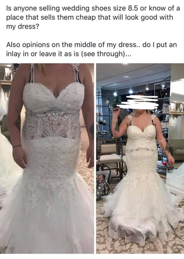 7dc28e16d4f Bride is urged to burn  awful  wedding dress after sharing photos on  Facebook