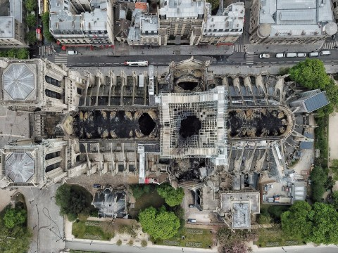 Dramatic aerial pictures show full scale of damage to Notre Dame cathedral