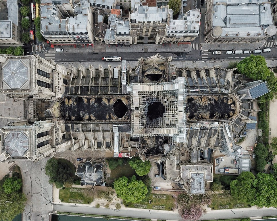 Drone aerials of Notre Dame cathedral following the fire