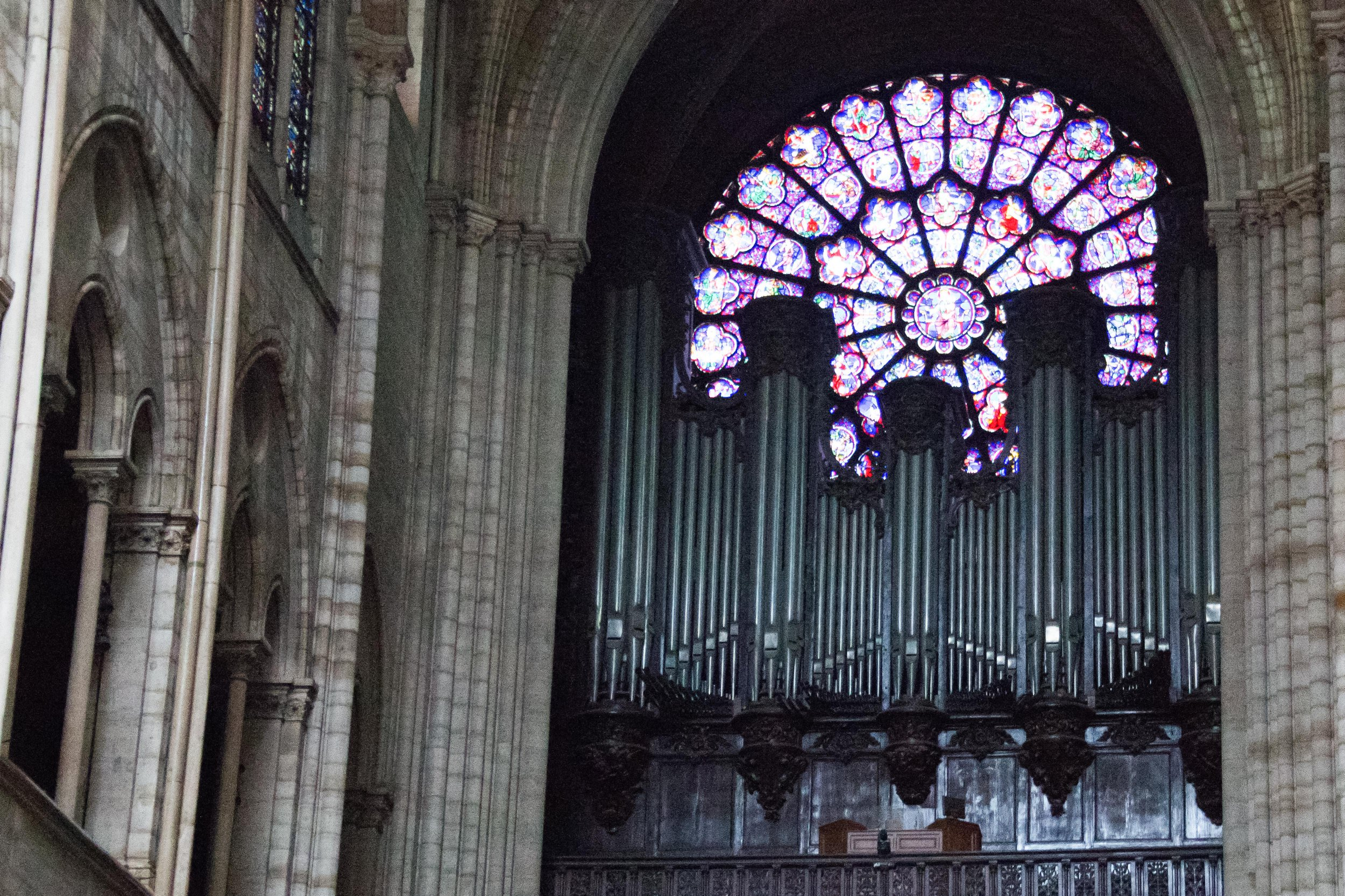 """ABACA Press via Press Association Images. EMBARGOED FOR WEB AND APPS IN FRANCE UNTIL MAY 1, 2019 - This general view shows the undamaged organ inside the Notre-Dame-de Paris Cathedral in Paris on April 16, 2019, a day after a fire that devastated the building in the centre of the French capital. French President Emmanuel Macron vowed on April 16 to rebuild Notre-Dame cathedral """"within five years"""", after a fire which caused major damage to the 850-year-old Paris landmark. Photo by Amaury Blin/ABACAPRESS.COM"""
