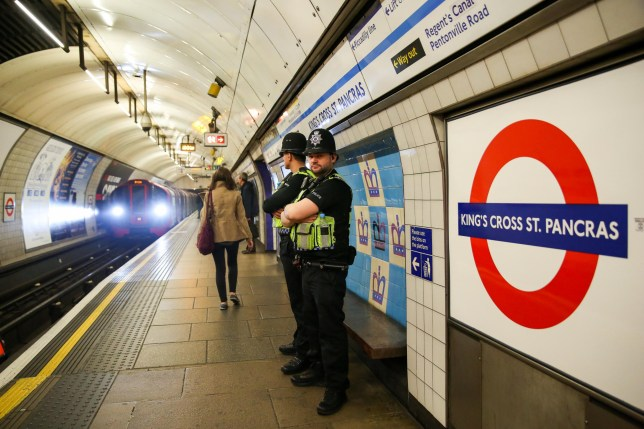 Alamy Live News. T4J40X London Underground, UK. 17th Apr, 2019. British Transport Police Officers at Kings Cross St Pancras station platform as the Extinction Rebellion group plans to cause disruption on London Underground demanding decisive action from the UK Government on the environmental crisis. Credit: Dinendra Haria/Alamy Live News This is an Alamy Live News image and may not be part of your current Alamy deal . If you are unsure, please contact our sales team to check.