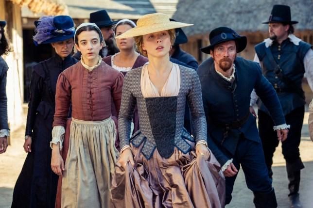 Patsy Ferran as Mercy,  Naomi Battrick as Jocelyn and Ben Batt as Willmus Crabtree in Jamestown series three