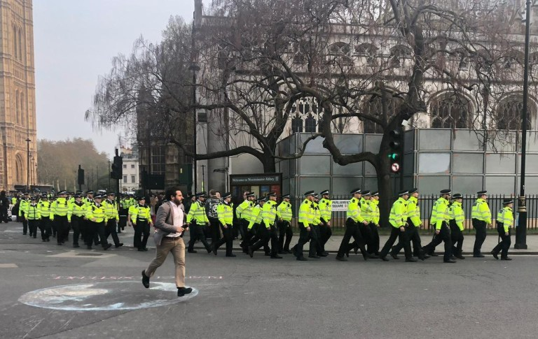 Extinction Rebellion Protest Police taking action against protesters. Parliament Square Picture: Lucy Middleton metro.co.uk