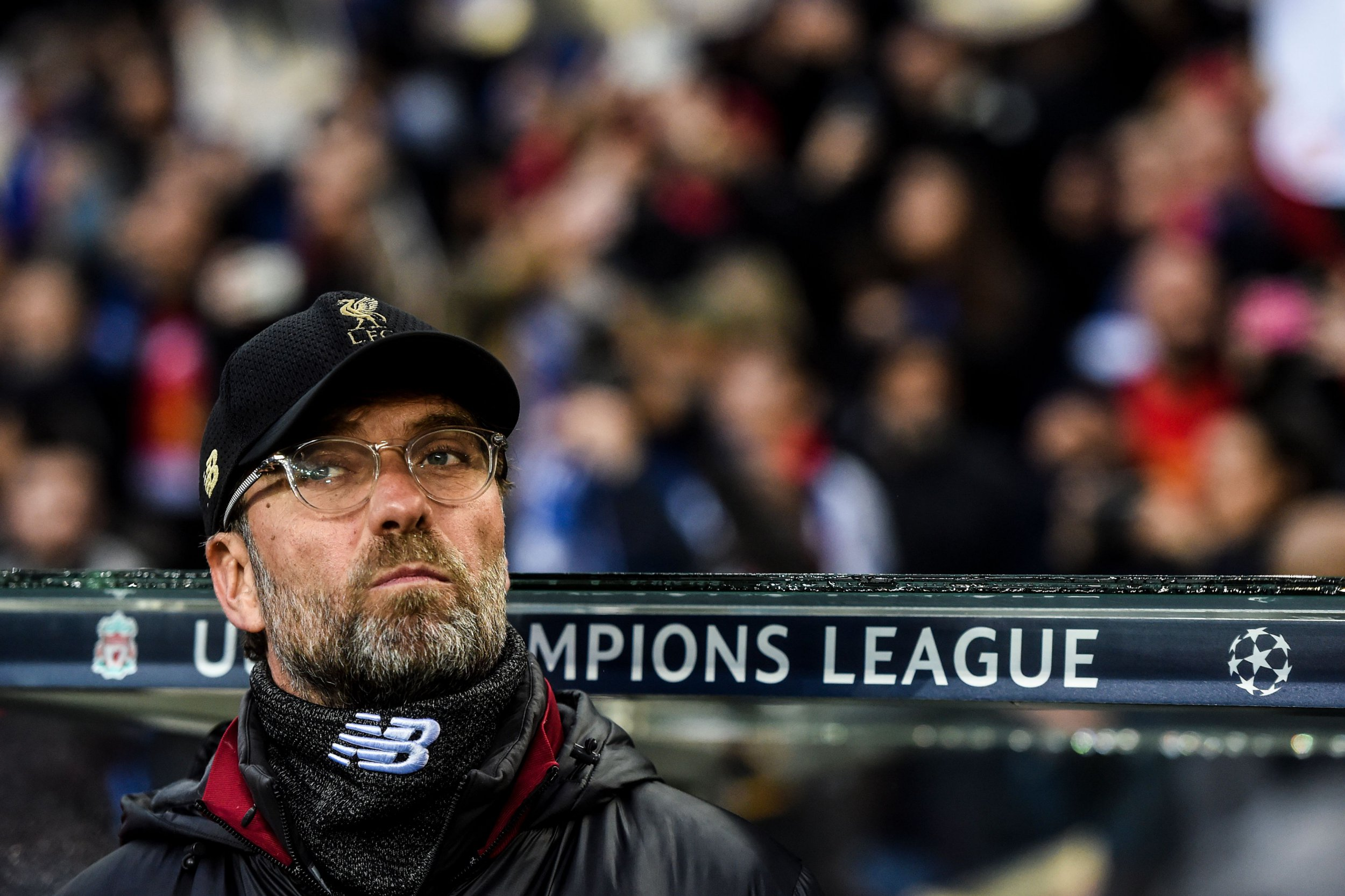 Liverpool's German coach Jurgen Klopp looks on before the UEFA Champions League quarter-final second leg football match between FC Porto and Liverpool at the Dragao stadium in Porto on April 17, 2019. (Photo by PATRICIA DE MELO MOREIRA / AFP)PATRICIA DE MELO MOREIRA/AFP/Getty Images