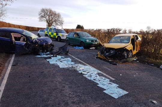The aftermath of the collision on the B3151 in Somerset. See SWNS story SWBRbaby - Pregnant mum who lost unborn baby in a car accident campaigning for change in the law so charges can be brought when unborn babies are killed in traffic collisions. Jackie and Tom Luxon, of Axbridge, are raising awareness of the Road Traffic Act 1988 and asking MPs to amend legislation to recognise unborn babies over 24 weeks as a person in their own right.