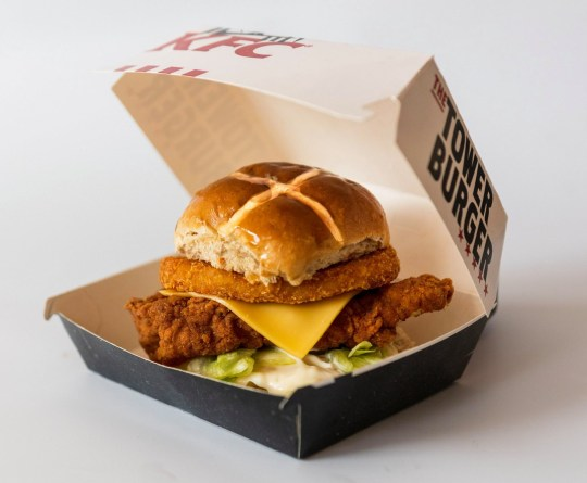 KFC is currently trialling the hot cross bun burger