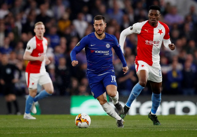 Soccer Football - Europa League - Quarter Final Second Leg - Chelsea v Slavia Prague - Stamford Bridge, London, Britain - April 18, 2019 Chelsea's Eden Hazard in action with Slavia Prague's Ibrahim-Benjamin Traore REUTERS/David Klein